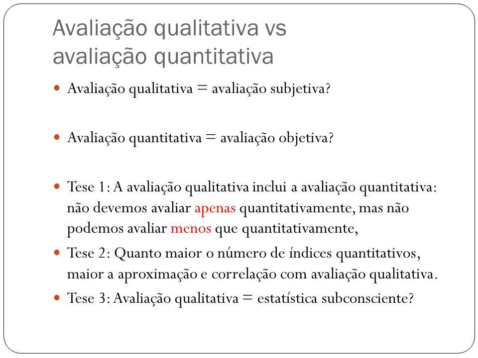 Avaliação qualitativa vs avaliação quantitativa