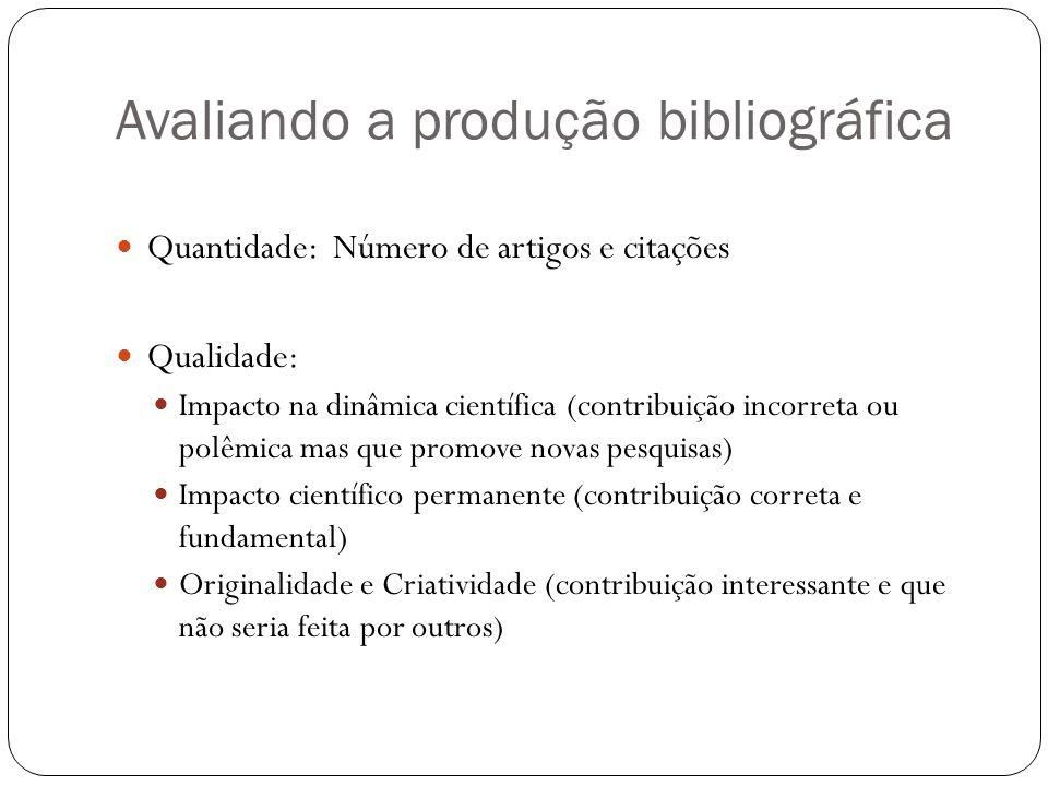 Avaliando a produção bibliográfica