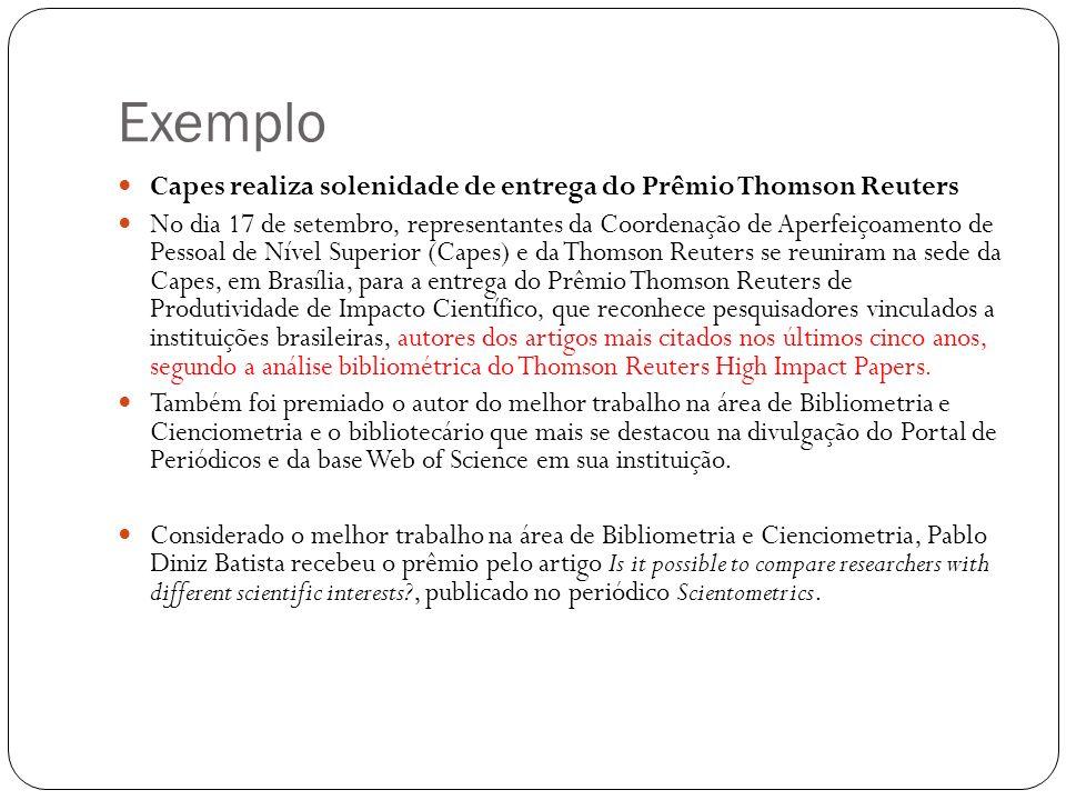 Exemplo Capes realiza solenidade de entrega do Prêmio Thomson Reuters