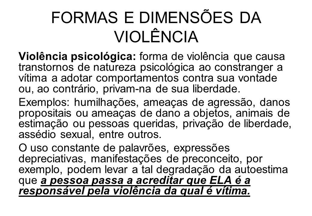 FORMAS E DIMENSÕES DA VIOLÊNCIA