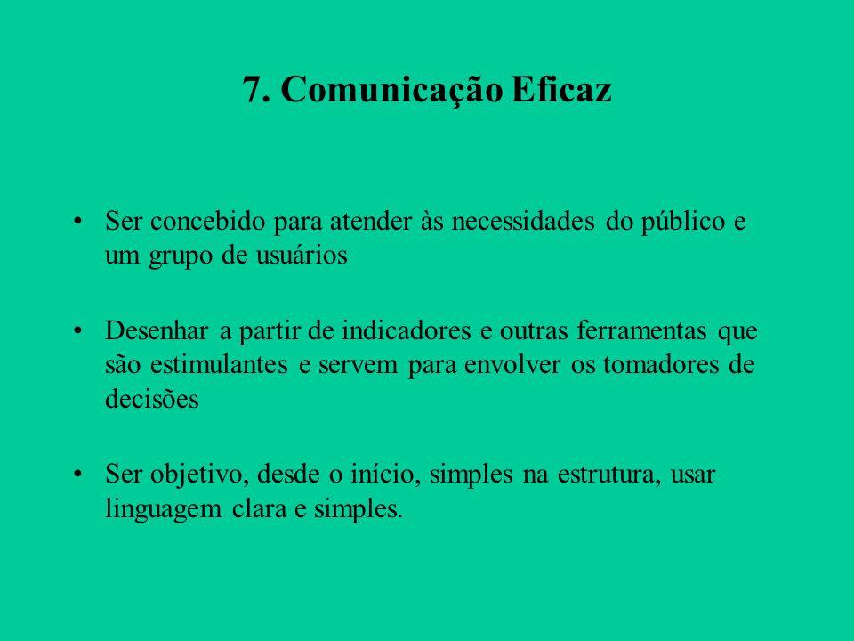 7. Comunicação Eficaz Ser concebido para atender às necessidades do público e um grupo de usuários.