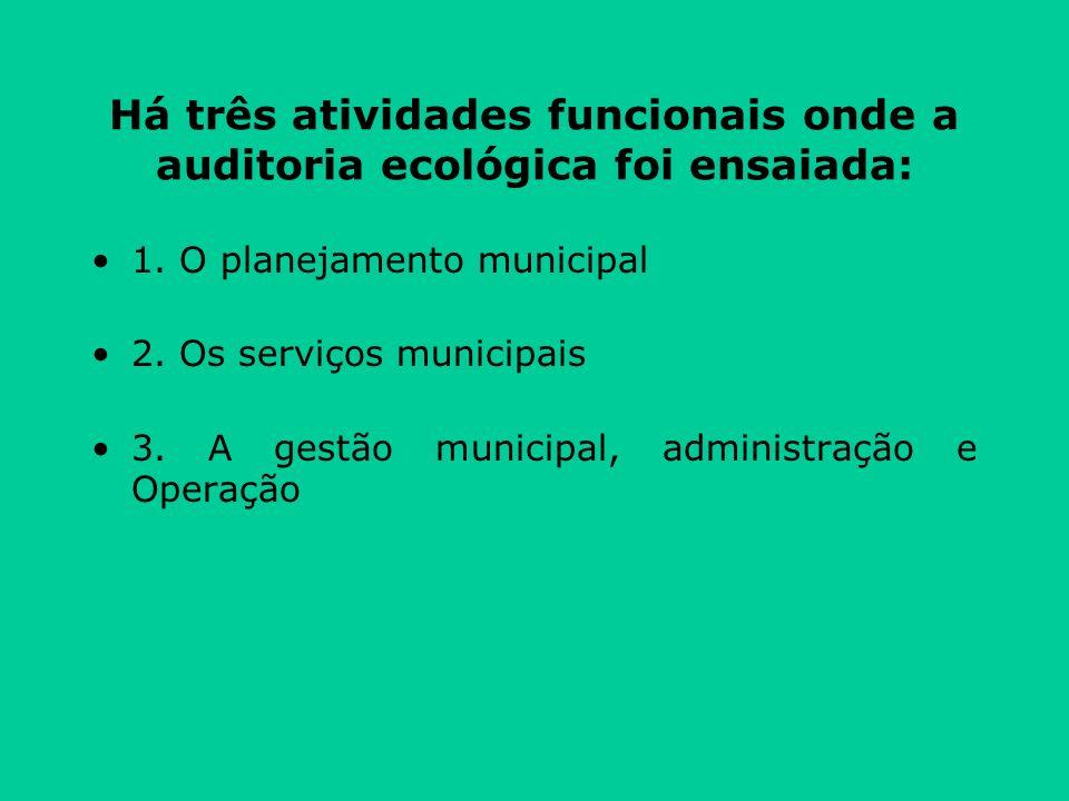 Há três atividades funcionais onde a auditoria ecológica foi ensaiada: