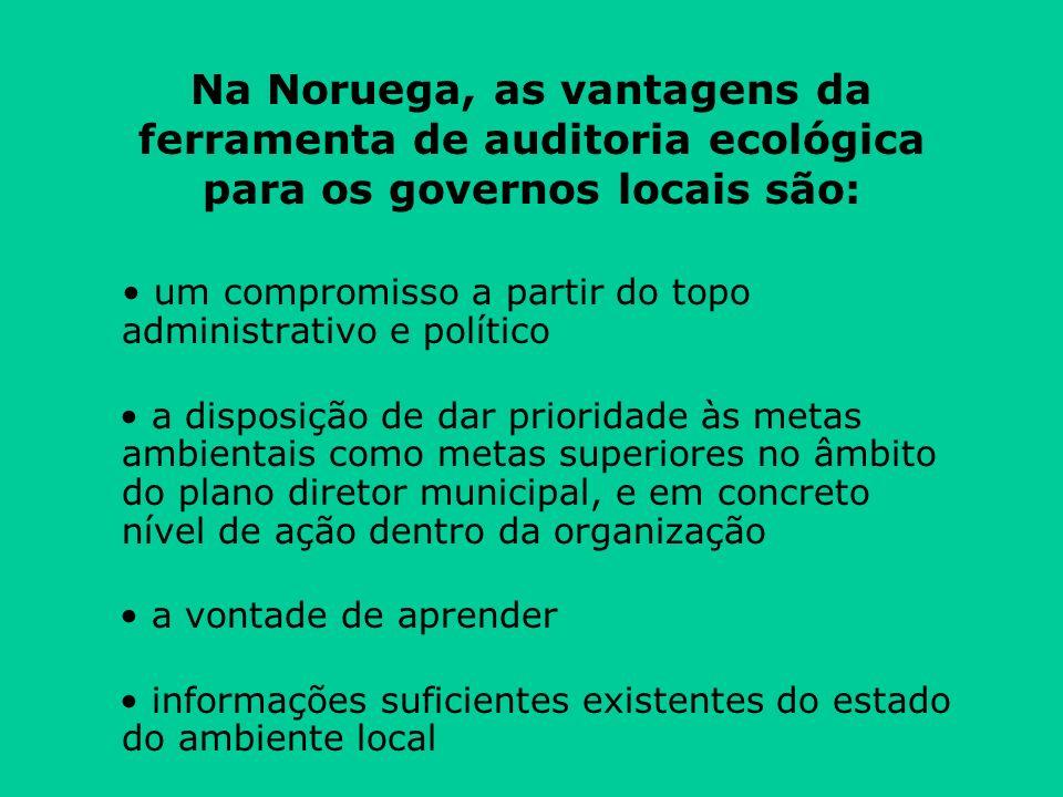 Na Noruega, as vantagens da ferramenta de auditoria ecológica para os governos locais são: