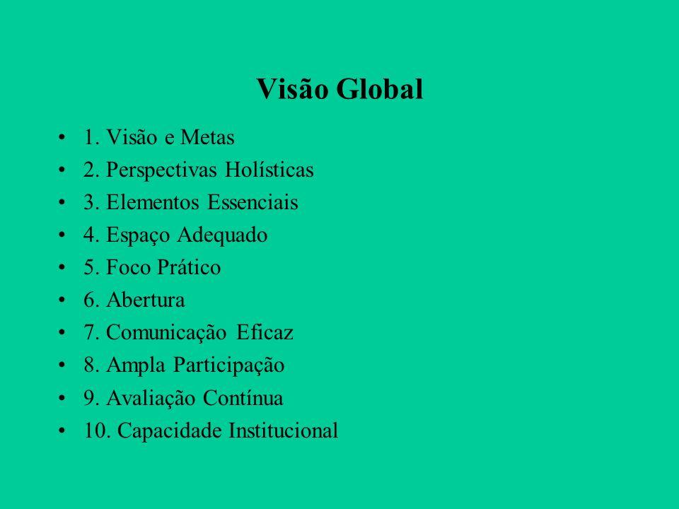 Visão Global 1. Visão e Metas 2. Perspectivas Holísticas