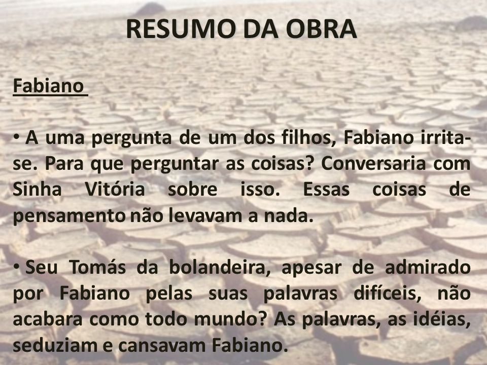RESUMO DA OBRA Fabiano