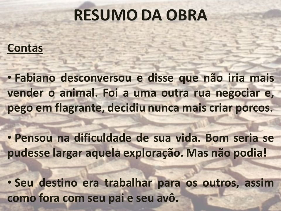 RESUMO DA OBRAContas.