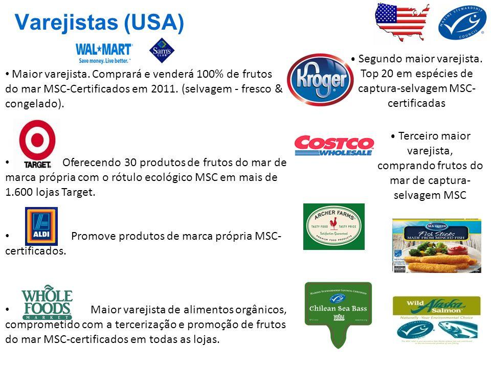 Varejistas (USA)• Segundo maior varejista. Top 20 em espécies de captura-selvagem MSC-certificadas.