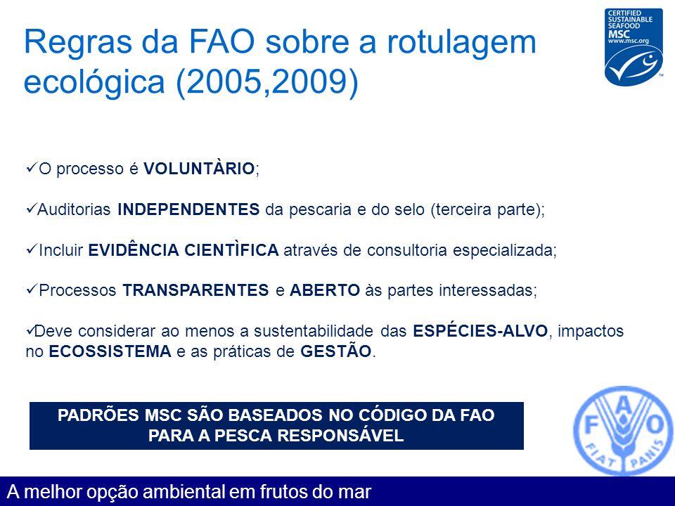 PADRÕES MSC SÃO BASEADOS NO CÓDIGO DA FAO PARA A PESCA RESPONSÁVEL
