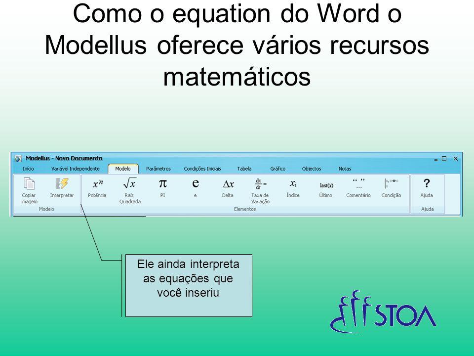 Como o equation do Word o Modellus oferece vários recursos matemáticos