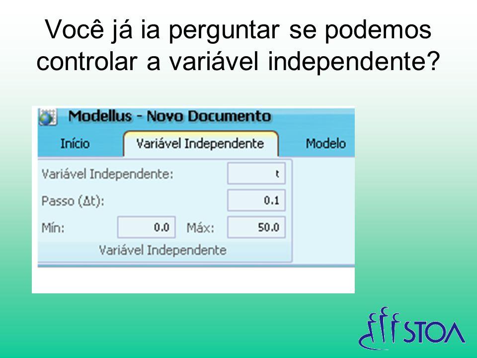 Você já ia perguntar se podemos controlar a variável independente