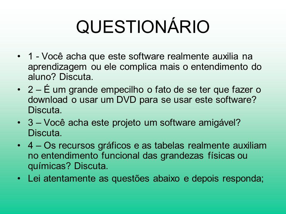QUESTIONÁRIO 1 - Você acha que este software realmente auxilia na aprendizagem ou ele complica mais o entendimento do aluno Discuta.