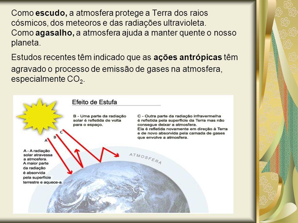Como escudo, a atmosfera protege a Terra dos raios cósmicos, dos meteoros e das radiações ultravioleta. Como agasalho, a atmosfera ajuda a manter quente o nosso planeta.