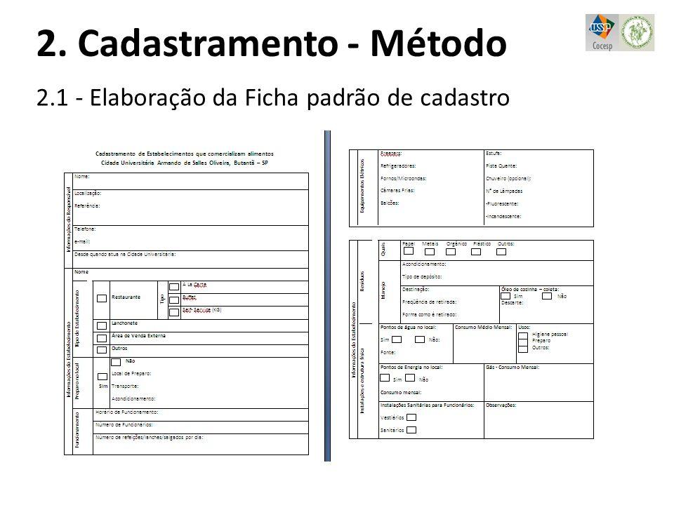 2. Cadastramento - Método