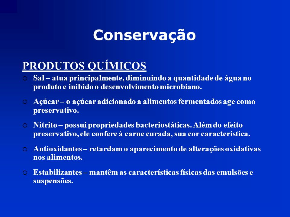 Conservação PRODUTOS QUÍMICOS