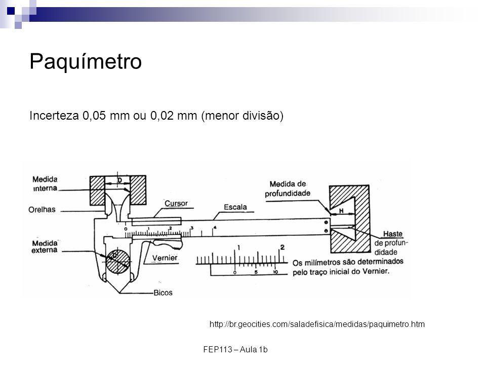 Paquímetro Incerteza 0,05 mm ou 0,02 mm (menor divisão)