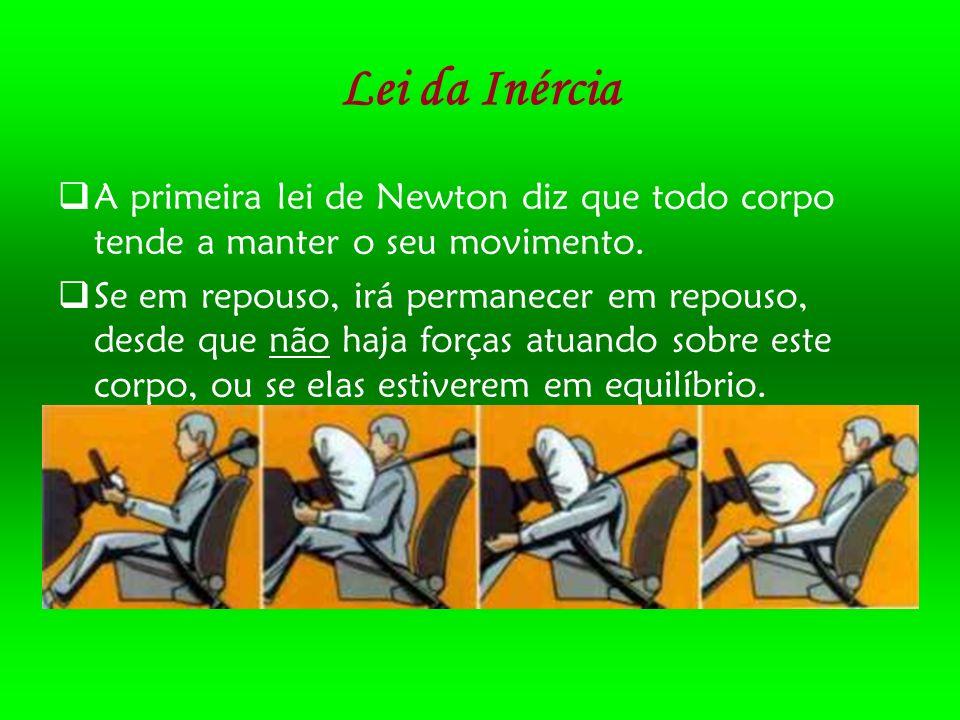 Lei da Inércia A primeira lei de Newton diz que todo corpo tende a manter o seu movimento.