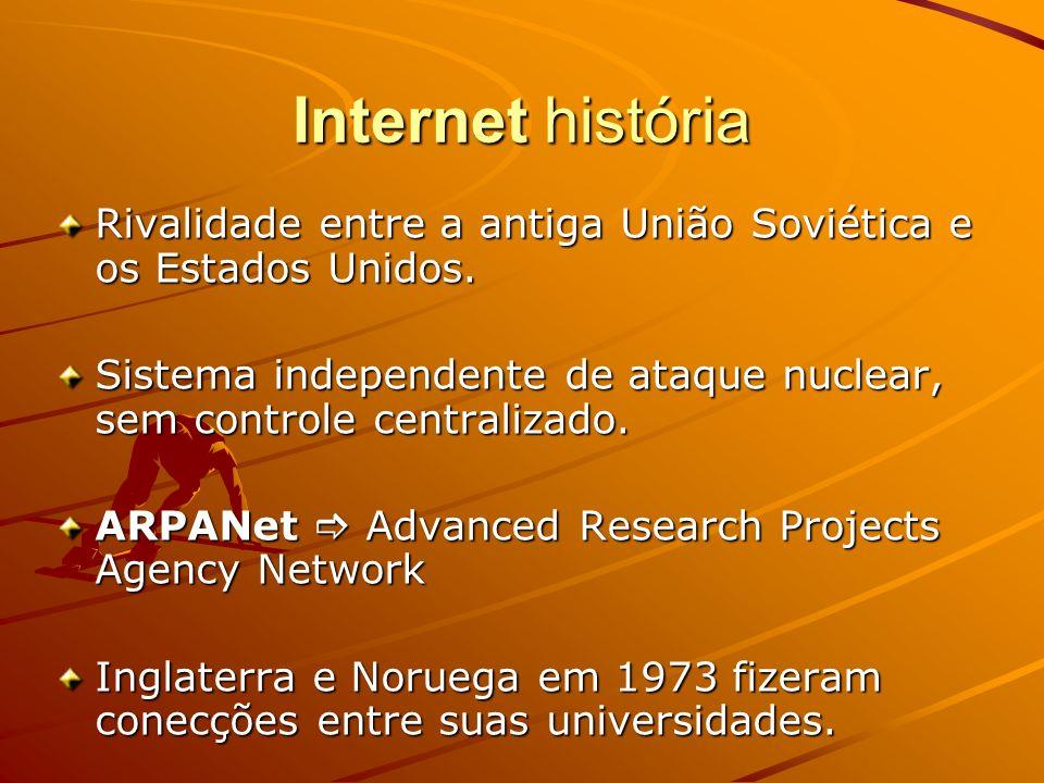 Internet história Rivalidade entre a antiga União Soviética e os Estados Unidos. Sistema independente de ataque nuclear, sem controle centralizado.