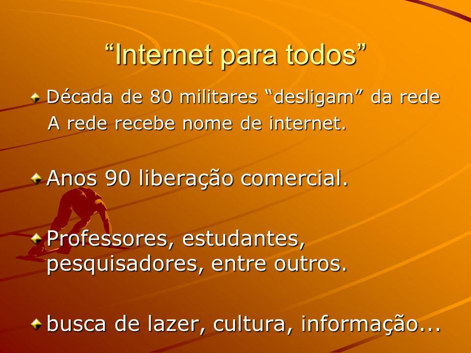 Internet para todos Anos 90 liberação comercial.