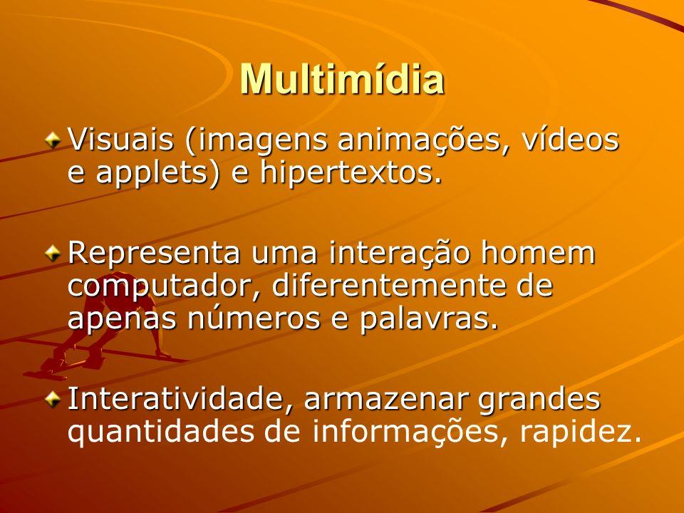 Multimídia Visuais (imagens animações, vídeos e applets) e hipertextos.
