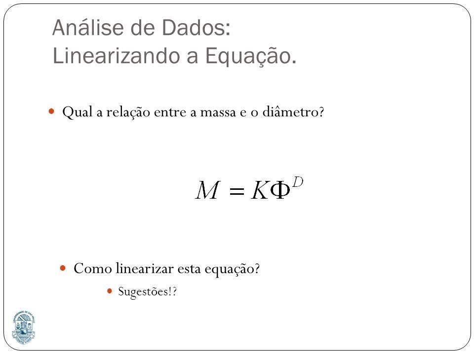 Análise de Dados: Linearizando a Equação.