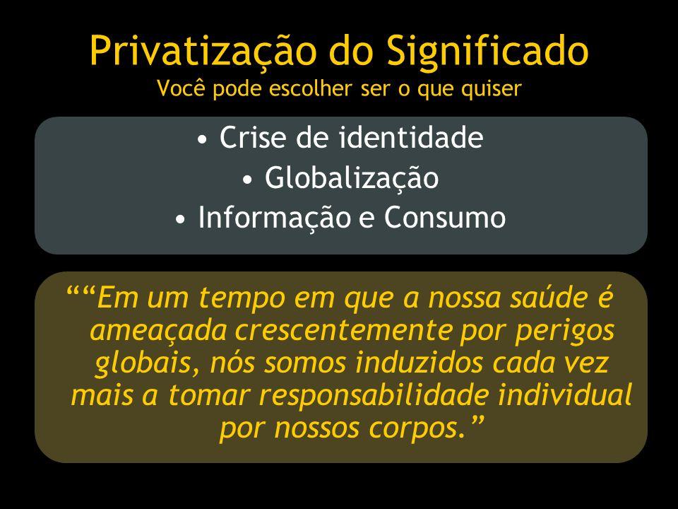 Privatização do Significado Você pode escolher ser o que quiser