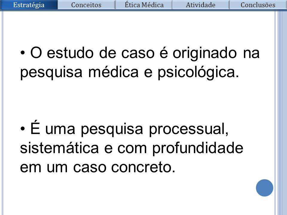 O estudo de caso é originado na pesquisa médica e psicológica.