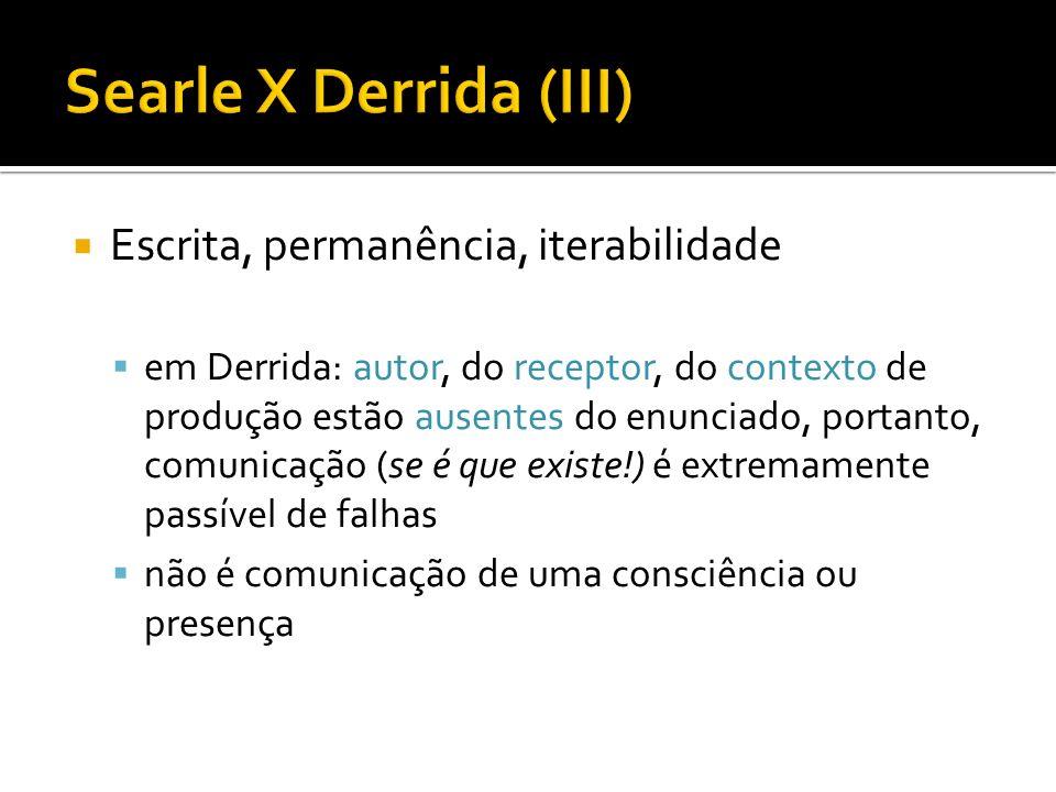 Searle X Derrida (III) Escrita, permanência, iterabilidade