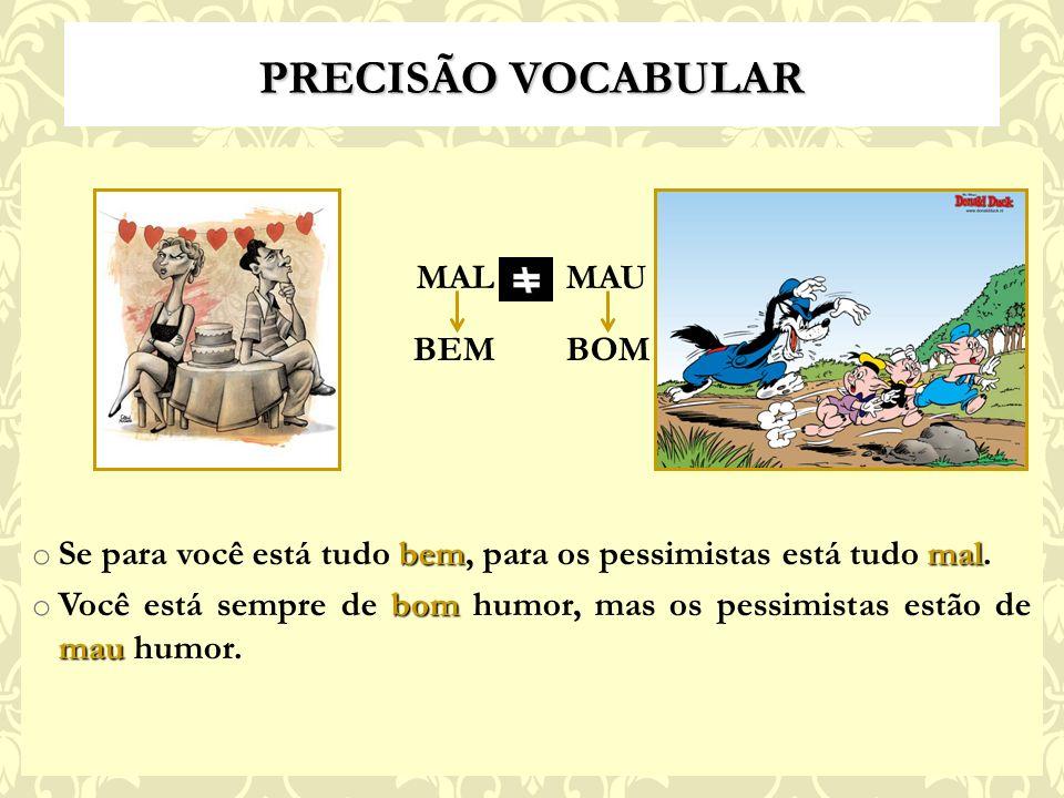 PRECISÃO VOCABULAR MAL MAU BEM BOM