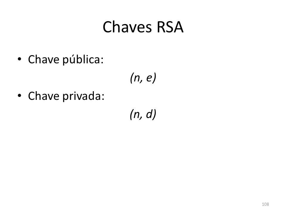 Chaves RSA Chave pública: (n, e) Chave privada: (n, d)