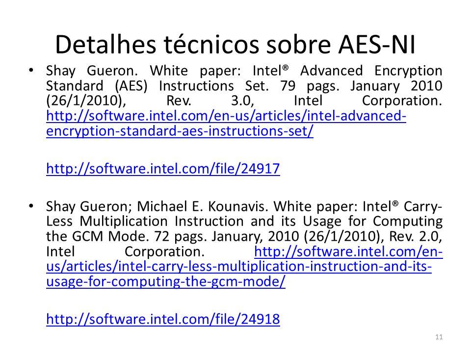 Detalhes técnicos sobre AES-NI