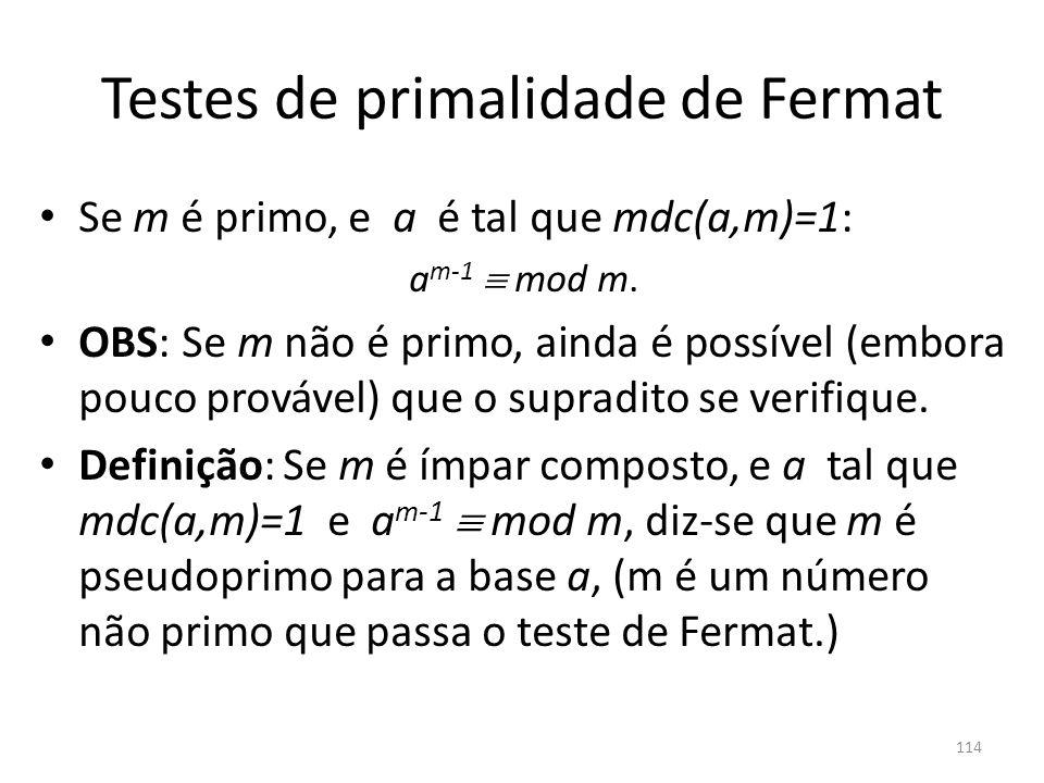 Testes de primalidade de Fermat