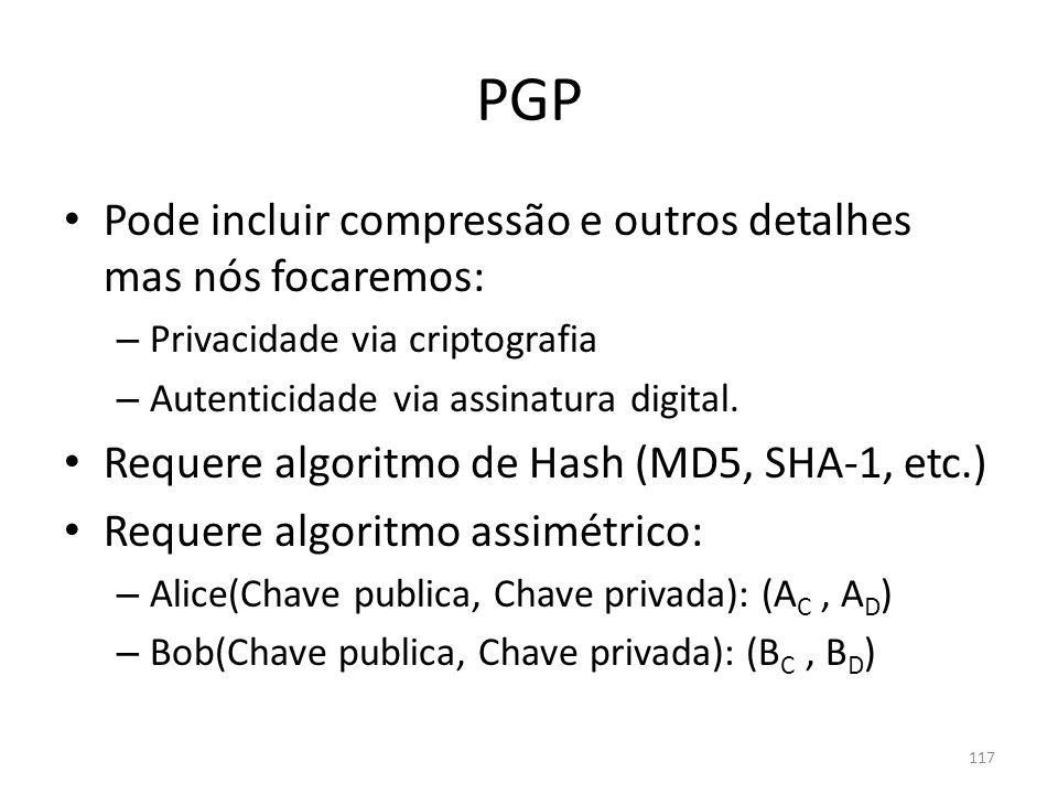 PGP Pode incluir compressão e outros detalhes mas nós focaremos:
