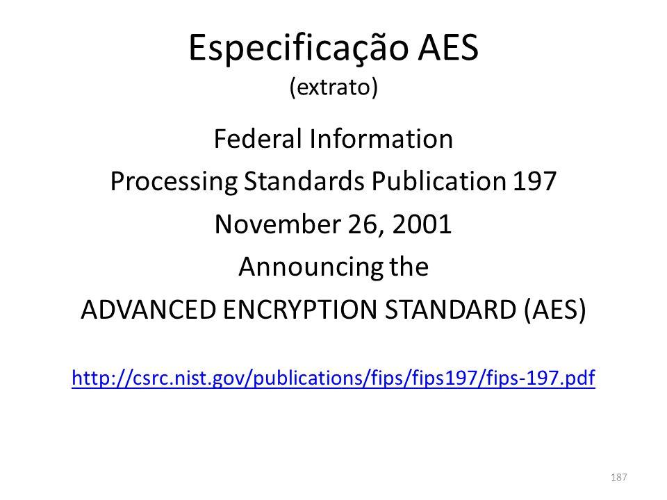 Especificação AES (extrato)