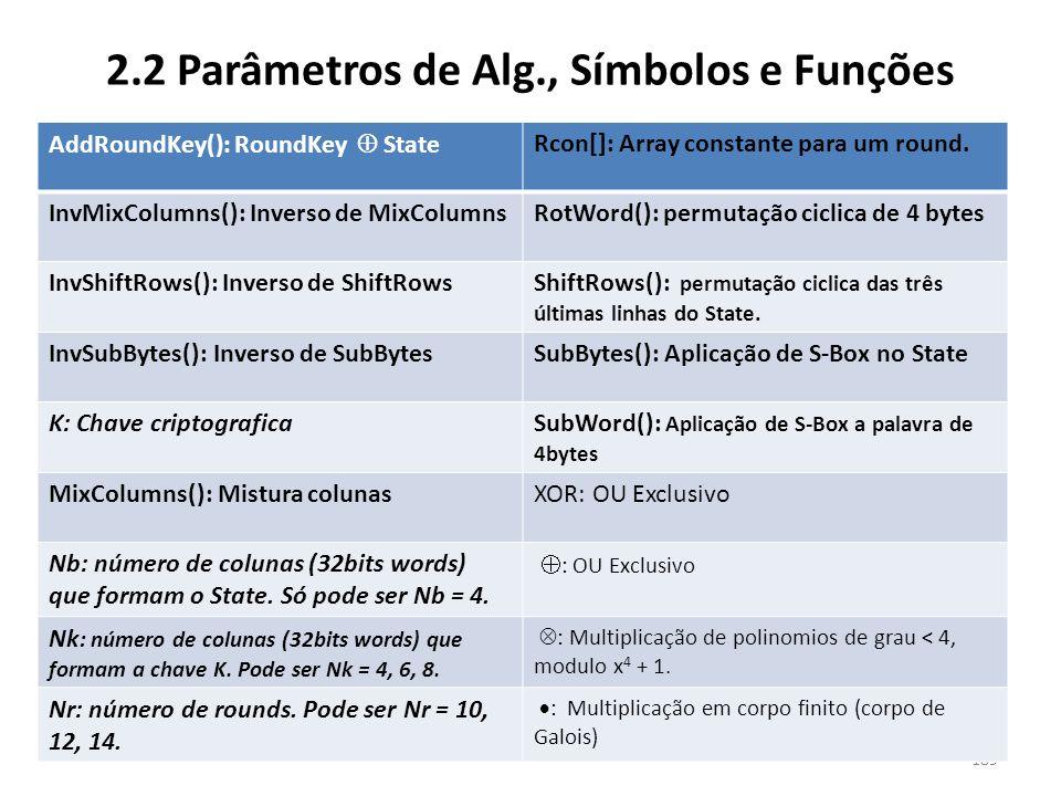 2.2 Parâmetros de Alg., Símbolos e Funções