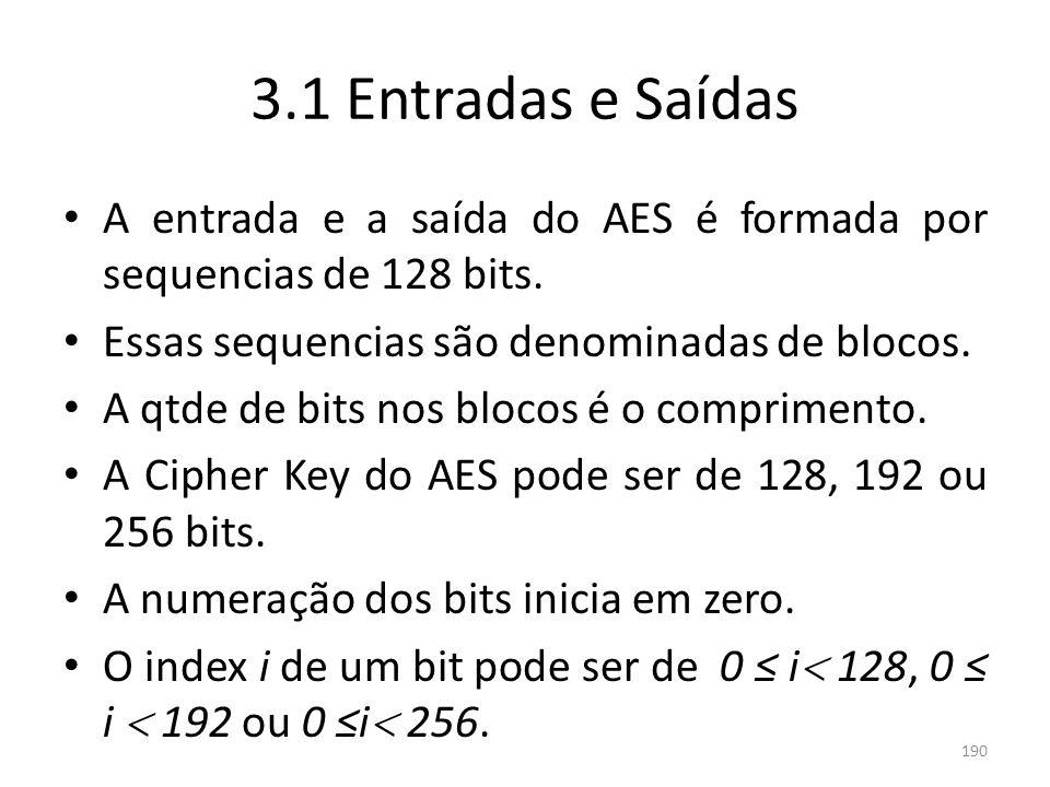 3.1 Entradas e SaídasA entrada e a saída do AES é formada por sequencias de 128 bits. Essas sequencias são denominadas de blocos.