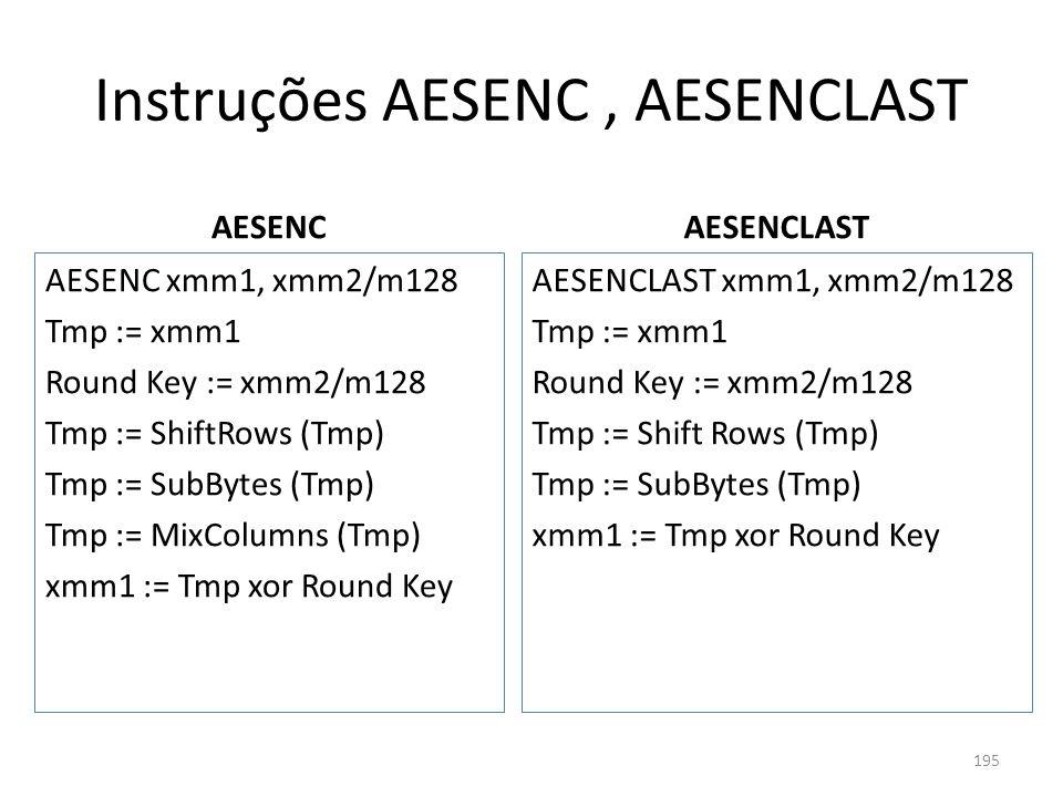 Instruções AESENC , AESENCLAST