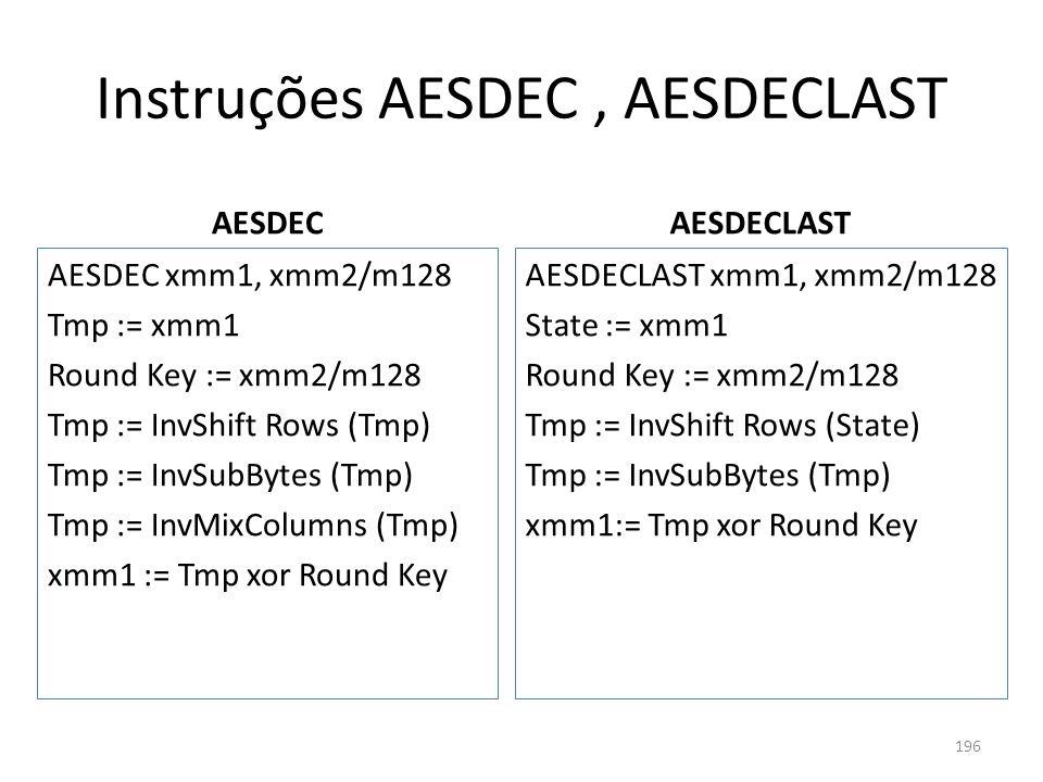 Instruções AESDEC , AESDECLAST