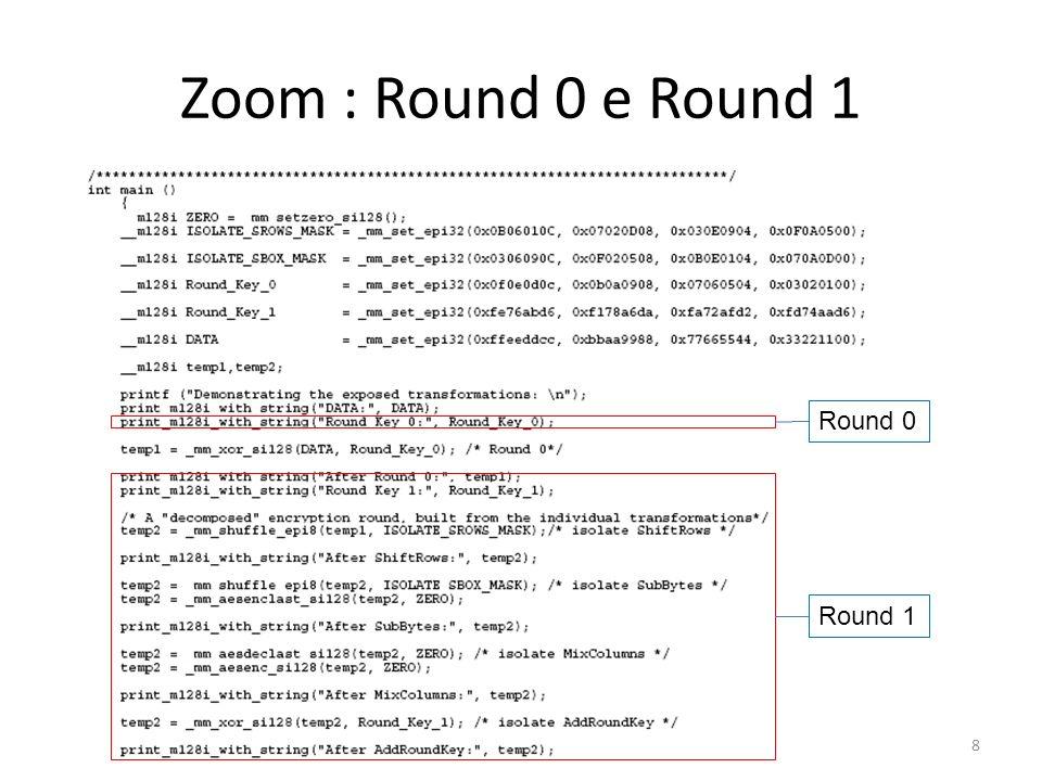 Zoom : Round 0 e Round 1 Round 0 Round 1