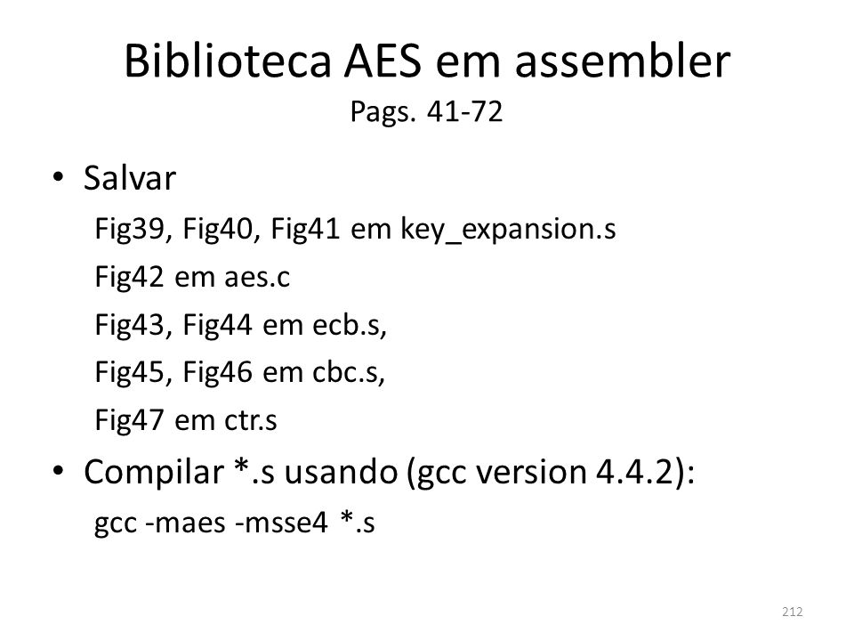 Biblioteca AES em assembler Pags. 41-72
