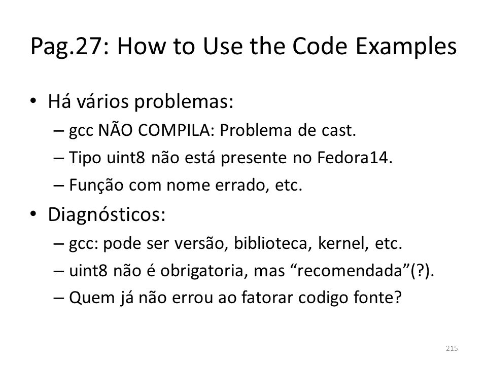 Pag.27: How to Use the Code Examples