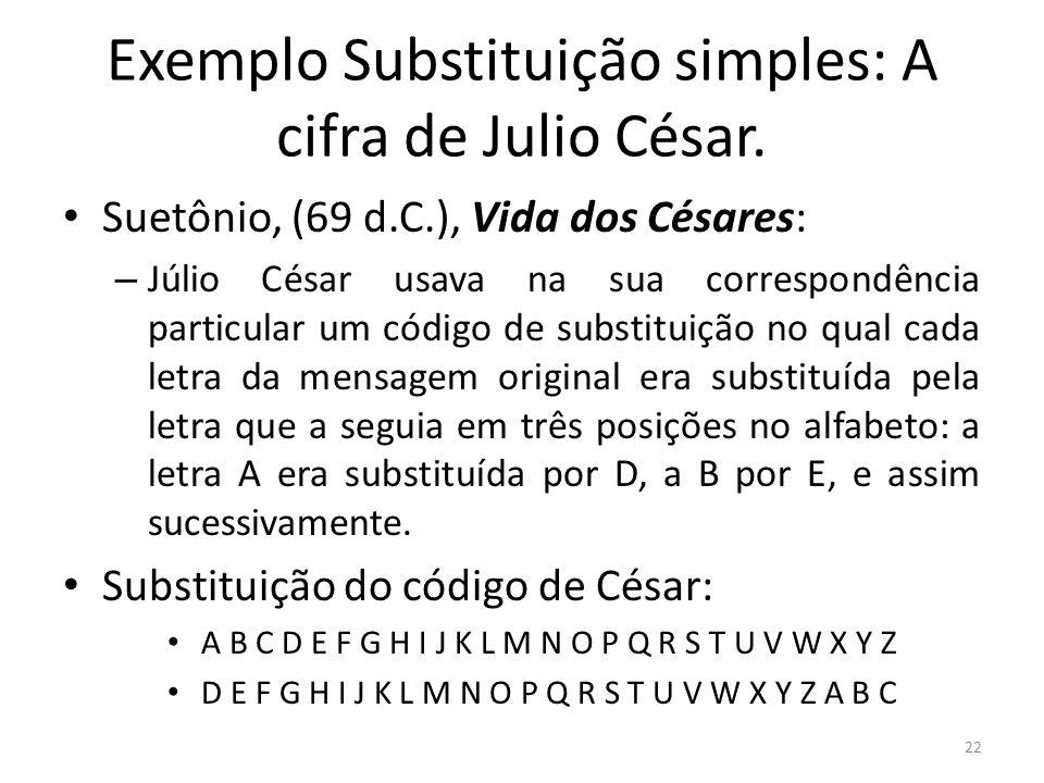 Exemplo Substituição simples: A cifra de Julio César.