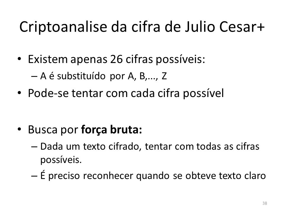 Criptoanalise da cifra de Julio Cesar+