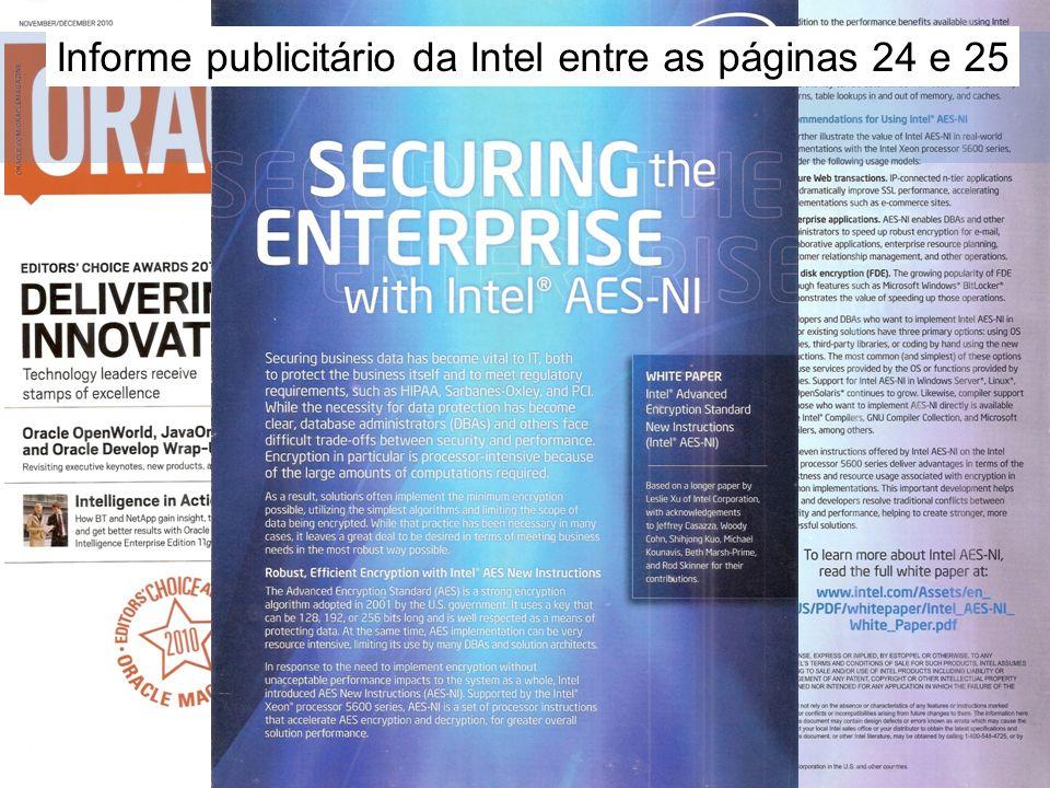 Motivação Informe publicitário da Intel entre as páginas 24 e 25