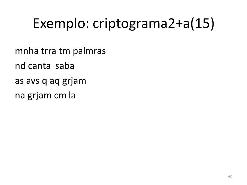 Exemplo: criptograma2+a(15)