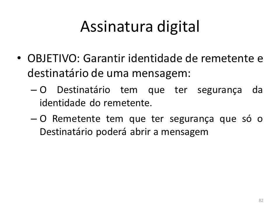 Assinatura digital OBJETIVO: Garantir identidade de remetente e destinatário de uma mensagem: