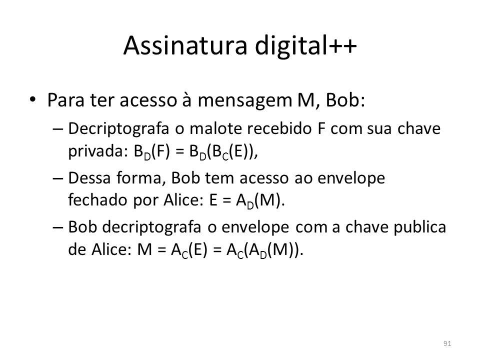 Assinatura digital++ Para ter acesso à mensagem M, Bob: