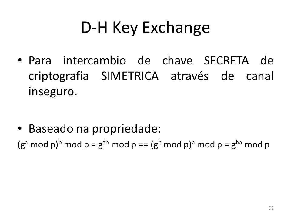 D-H Key ExchangePara intercambio de chave SECRETA de criptografia SIMETRICA através de canal inseguro.