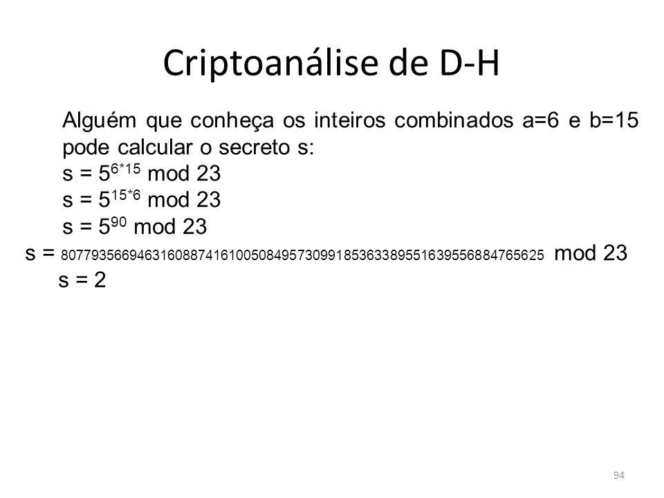 Criptoanálise de D-H Alguém que conheça os inteiros combinados a=6 e b=15 pode calcular o secreto s:
