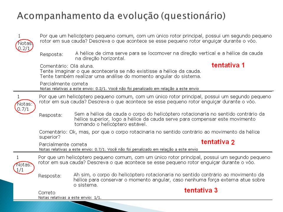 Acompanhamento da evolução (questionário)