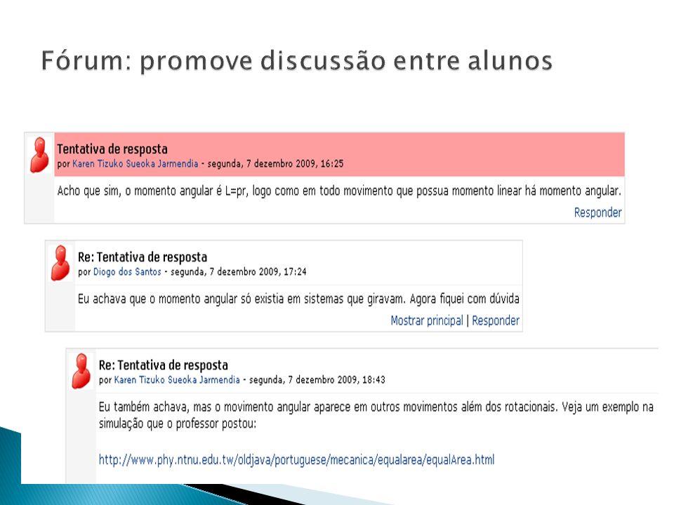 Fórum: promove discussão entre alunos
